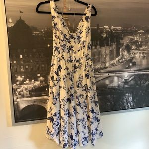 Torrid White and Blue Floral Flouncy Skirt Dress